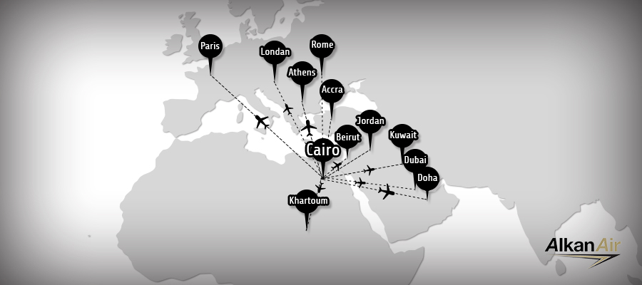 Alkan Air flies you to destinations in Europe, Middle East & everywhere in Egypt!